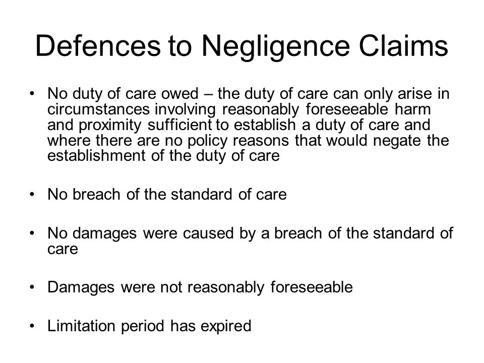 Defences to Negligence Claims