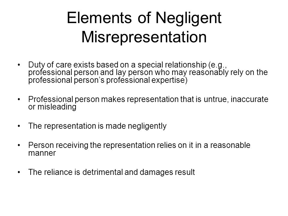 Elements of Negligent Misrepresentation