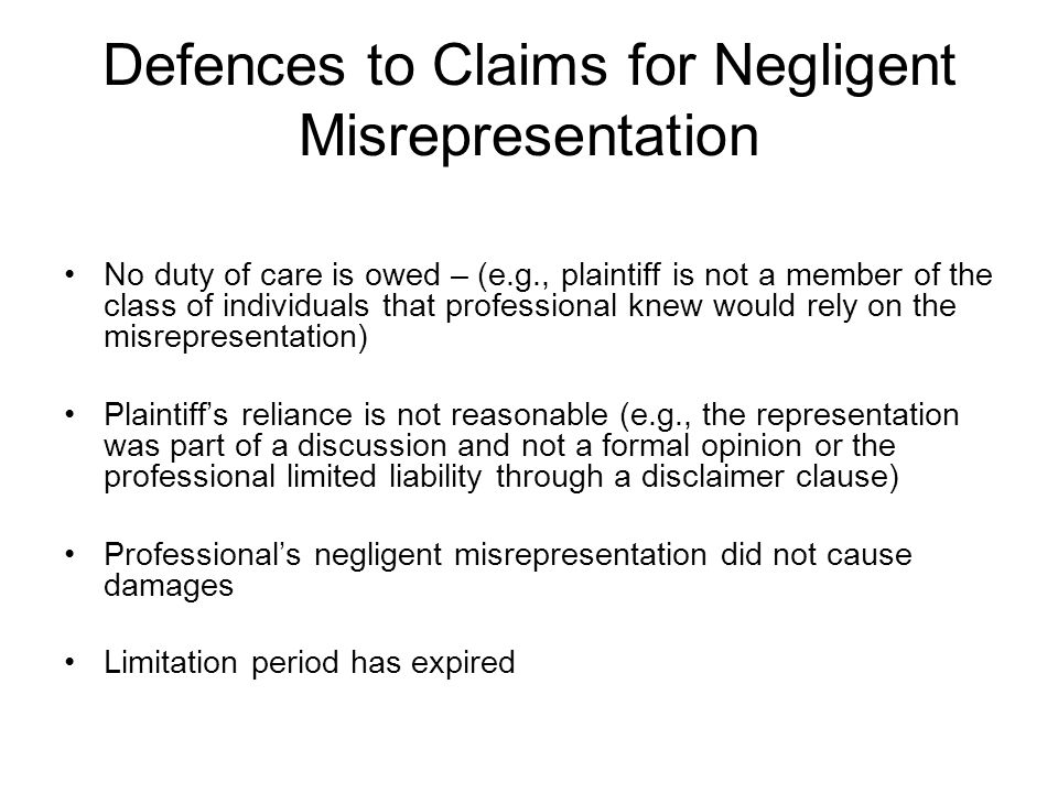 Defences to Claims for Negligent Misrepresentation