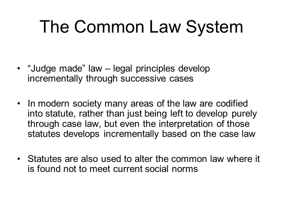 The Common Law System Judge made law – legal principles develop incrementally through successive cases.