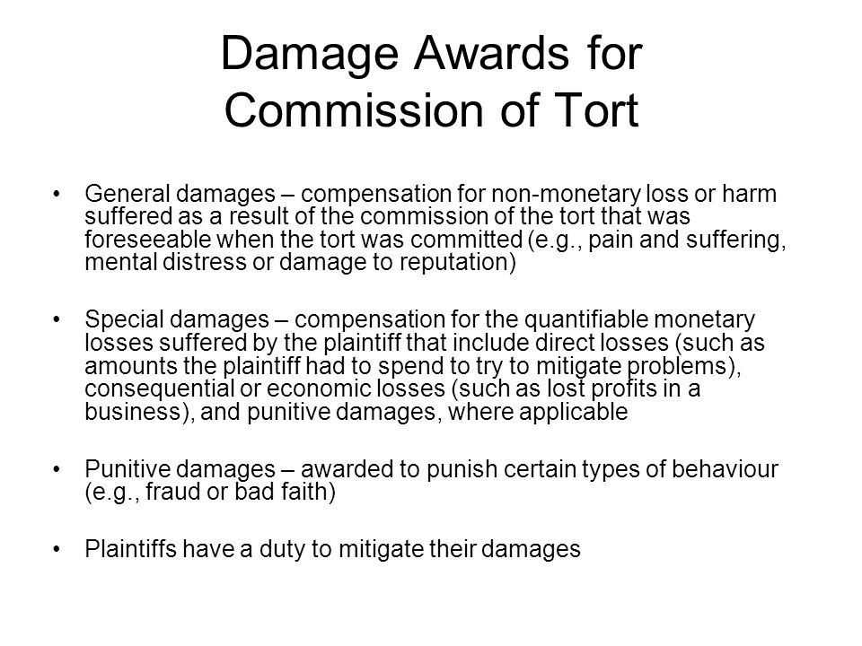 Damage Awards for Commission of Tort