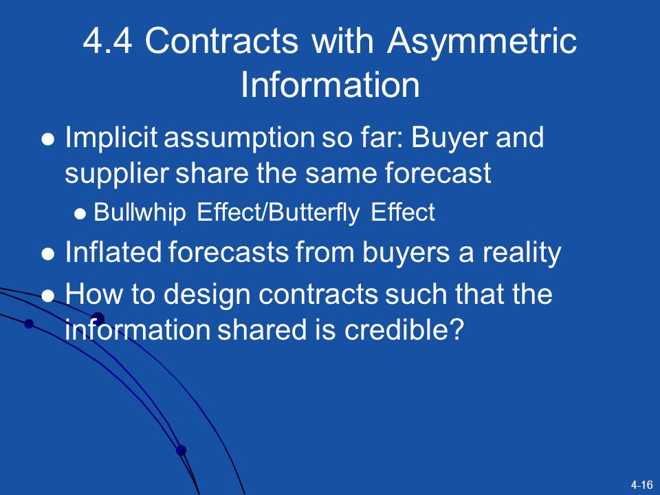 4.4 Contracts with Asymmetric Information