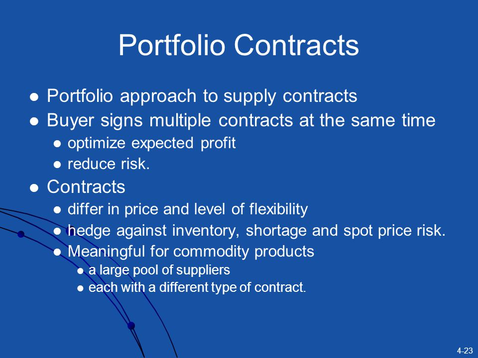 Portfolio Contracts Portfolio approach to supply contracts
