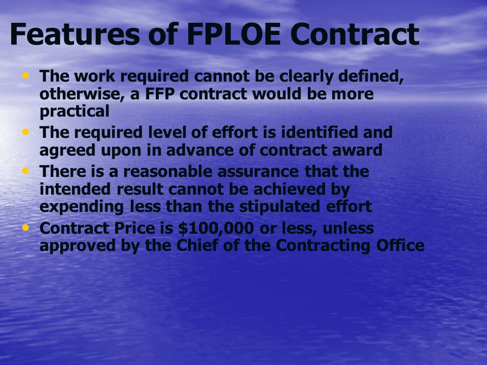Features of FPLOE Contract