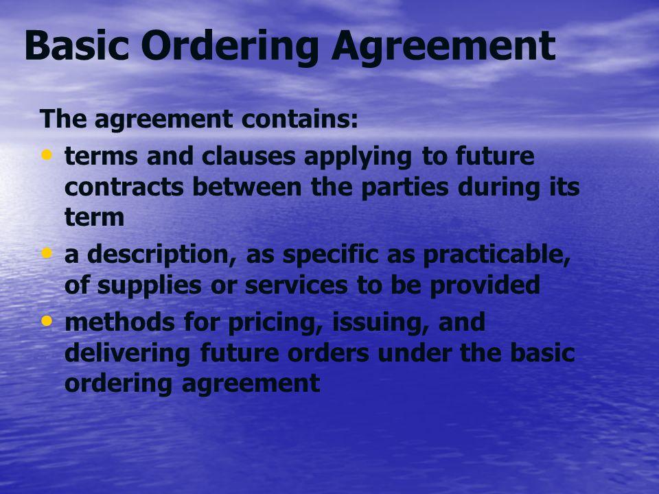 Basic Ordering Agreement