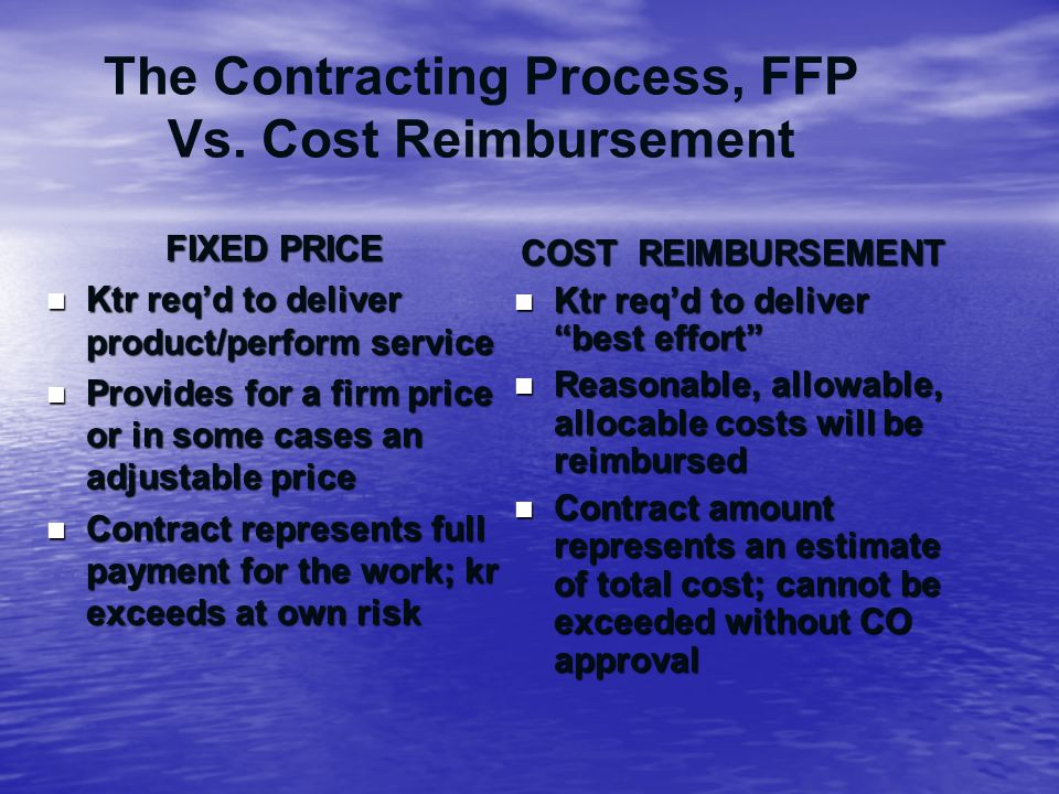 The Contracting Process, FFP