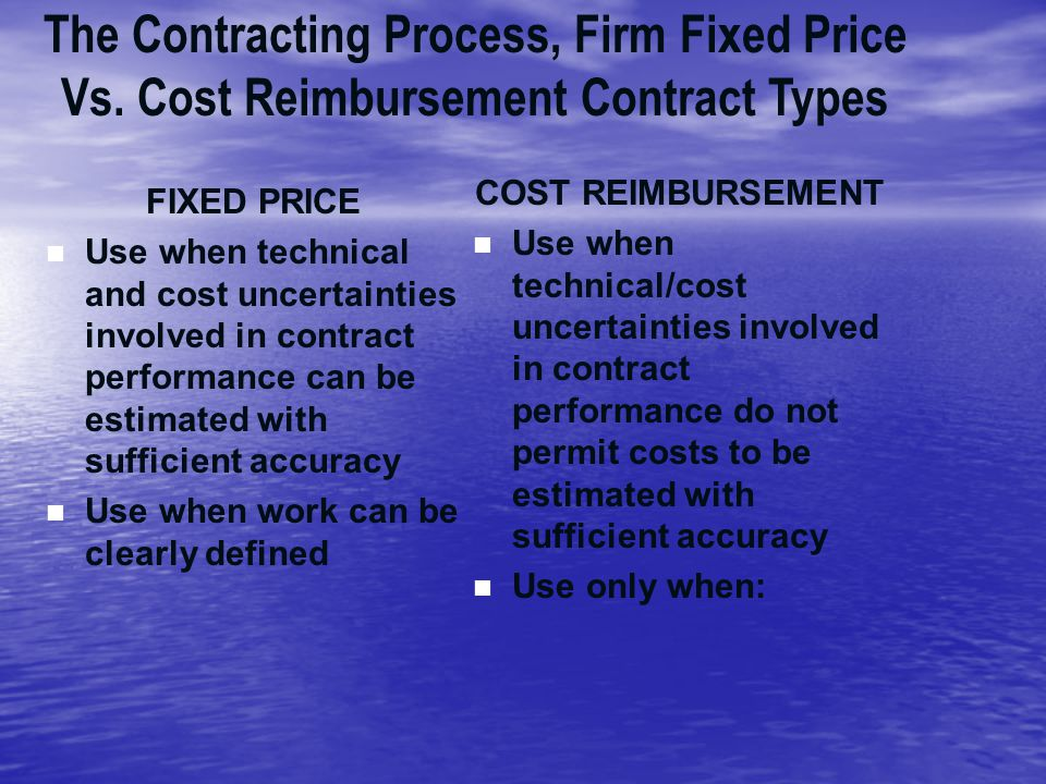 The Contracting Process, Firm Fixed Price