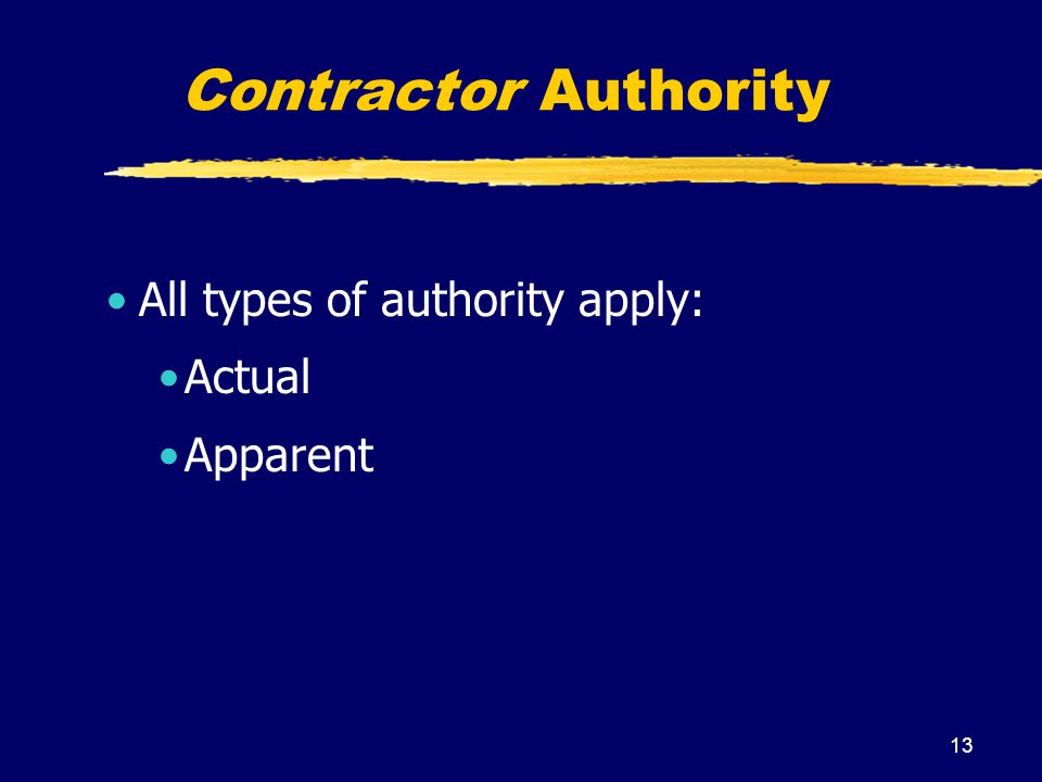 Contractor Authority All types of authority apply: Actual Apparent