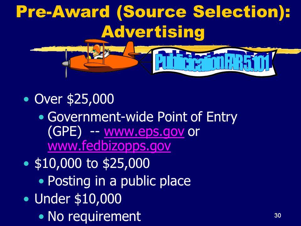 Pre-Award (Source Selection): Advertising
