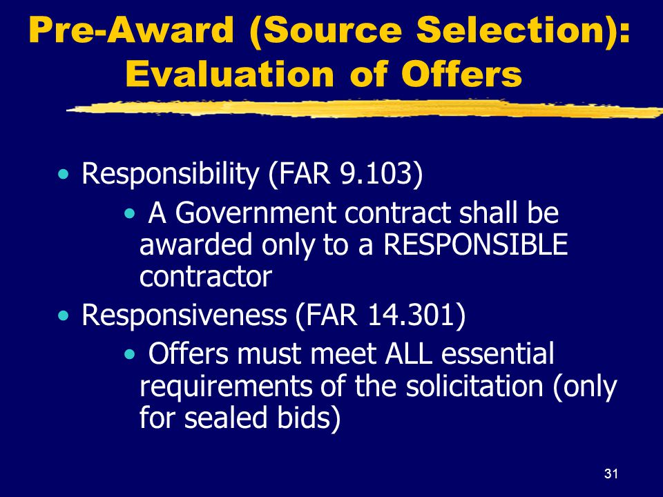 Pre-Award (Source Selection): Evaluation of Offers