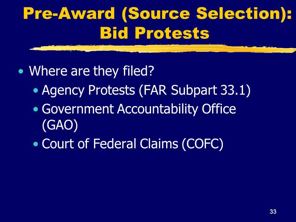 Pre-Award (Source Selection): Bid Protests