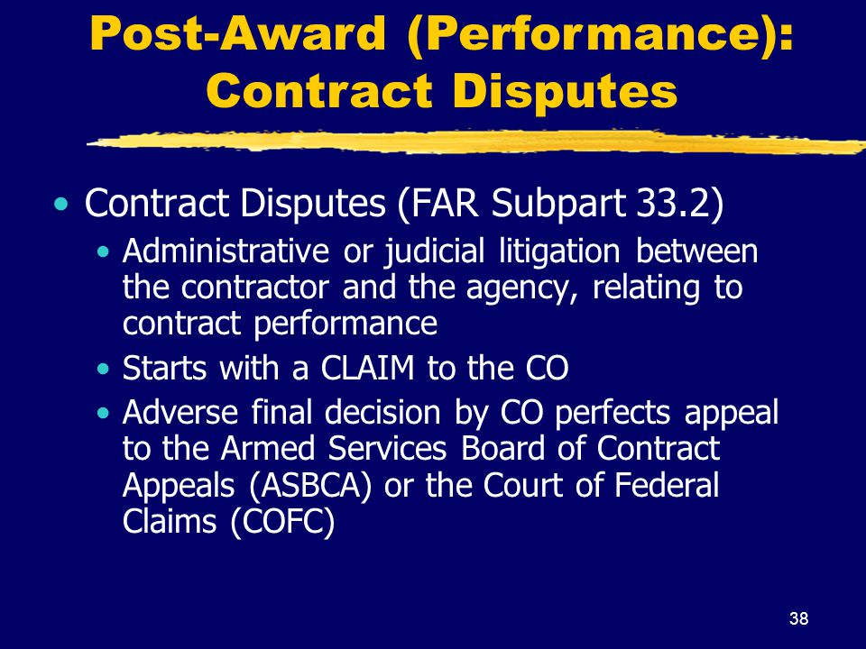 Post-Award (Performance): Contract Disputes