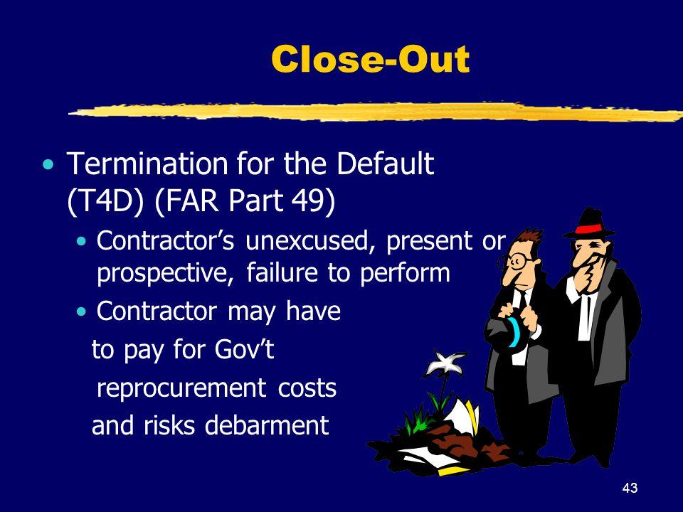 Close-Out Termination for the Default (T4D) (FAR Part 49)