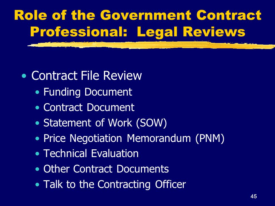 Role of the Government Contract Professional: Legal Reviews