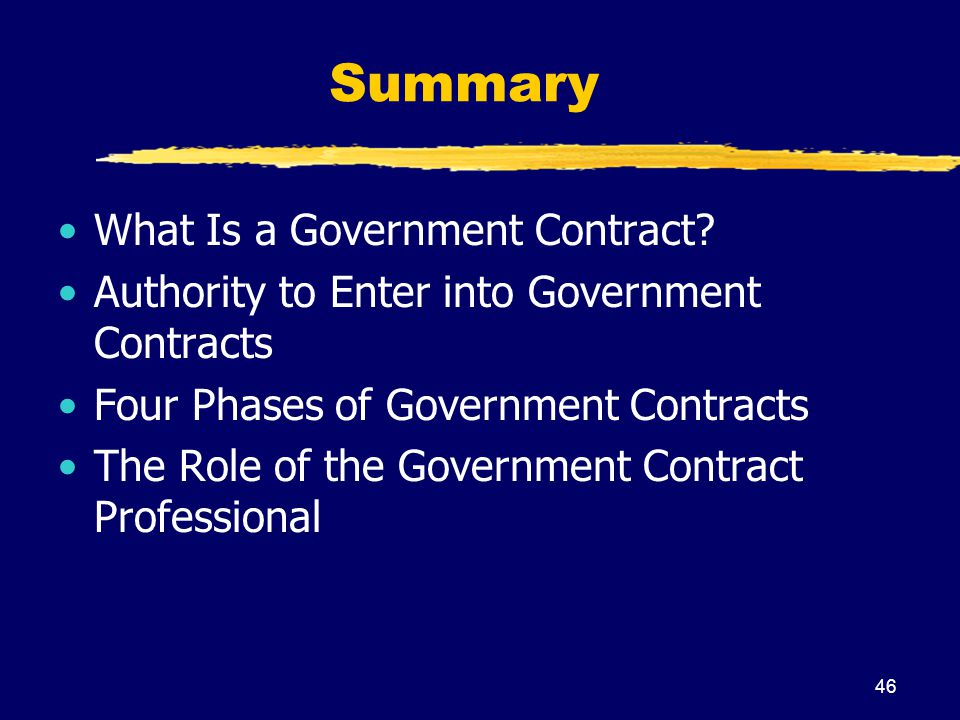 Summary What Is a Government Contract
