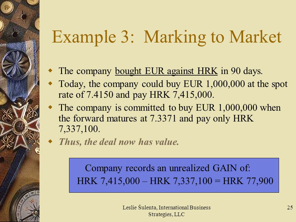 Example 3: Marking to Market