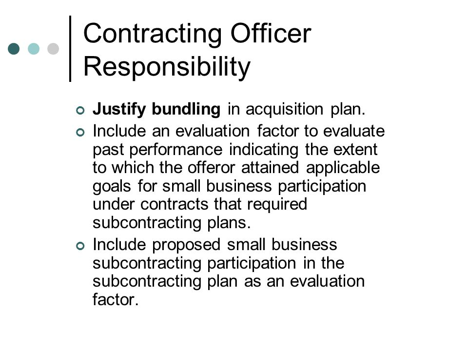 Contracting Officer Responsibility
