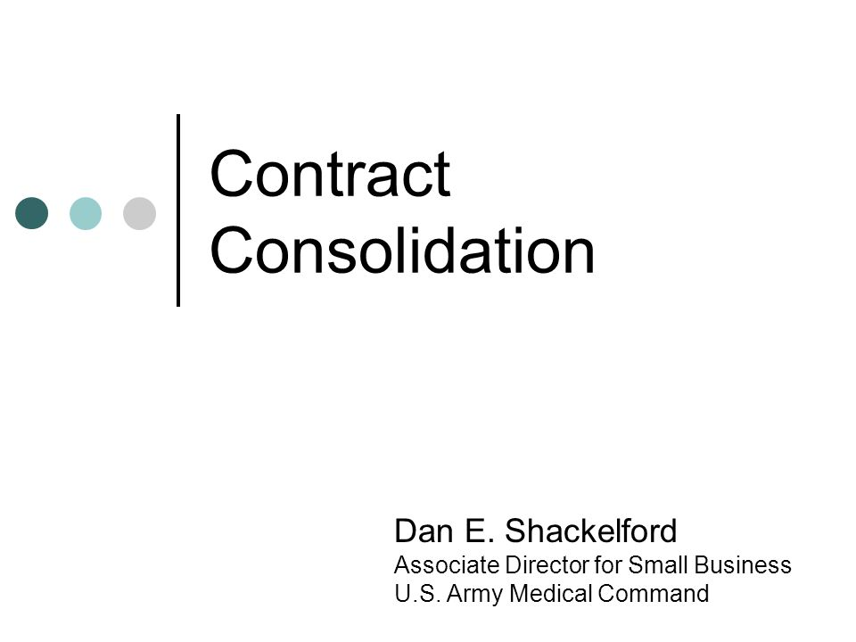 Contract Consolidation