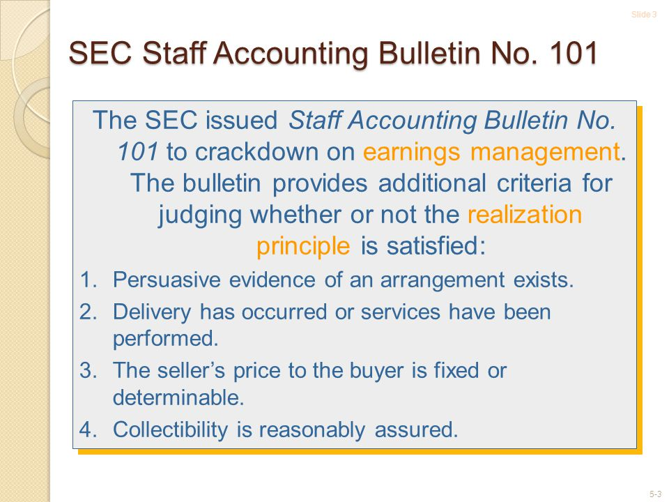 SEC Staff Accounting Bulletin No. 101