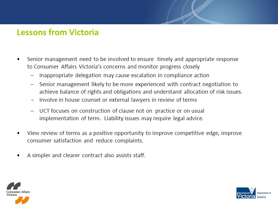 Lessons from Victoria