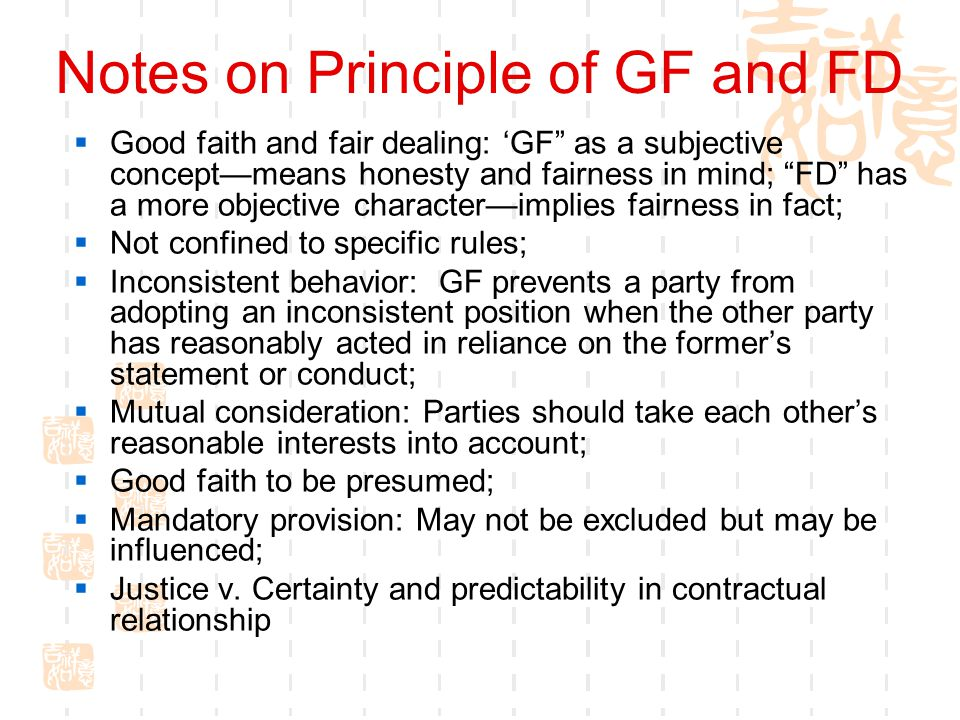 Notes on Principle of GF and FD