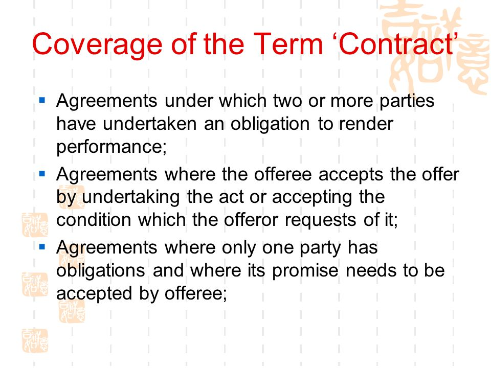 Coverage of the Term 'Contract'