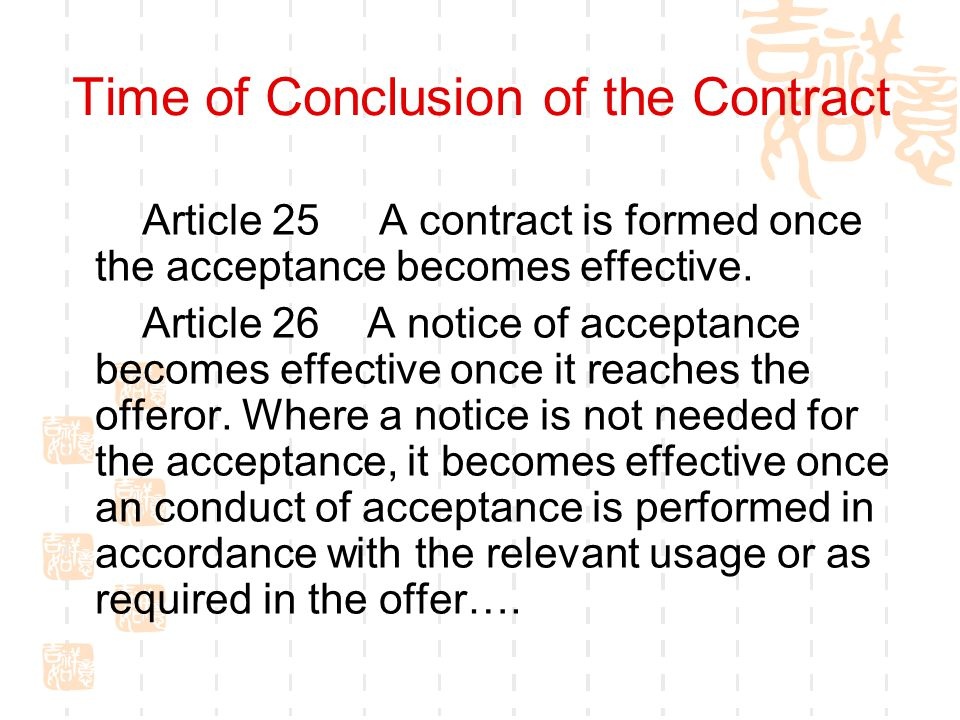 Time of Conclusion of the Contract