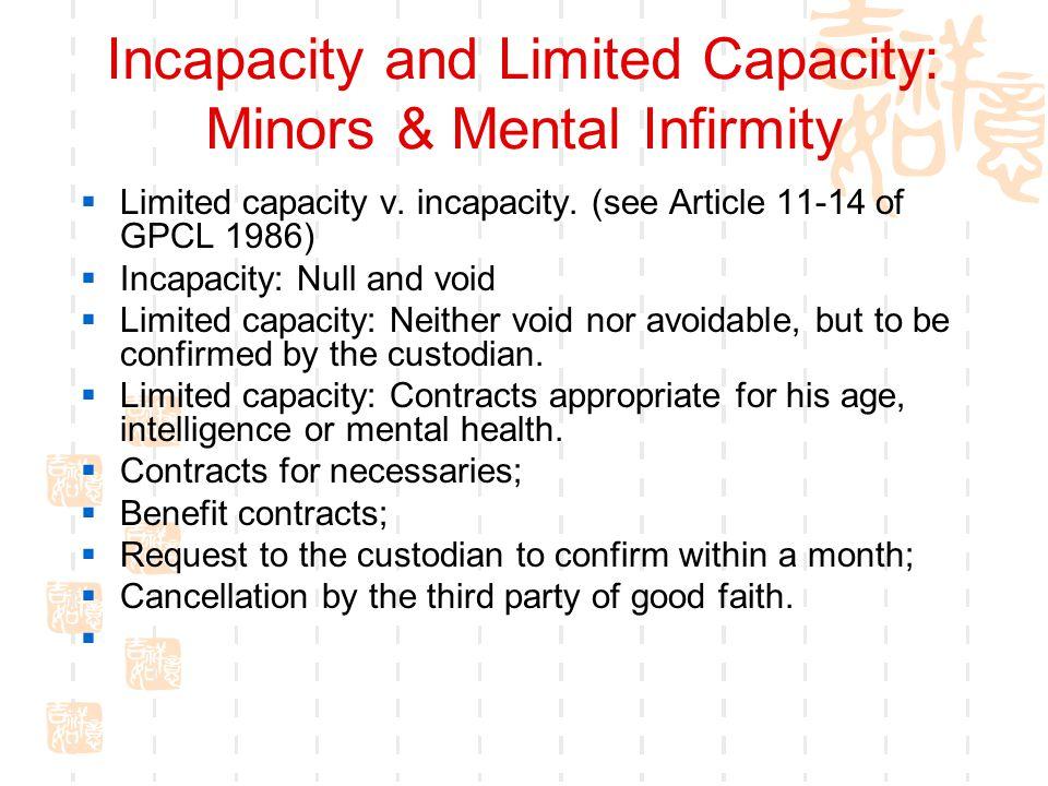 Incapacity and Limited Capacity: Minors & Mental Infirmity