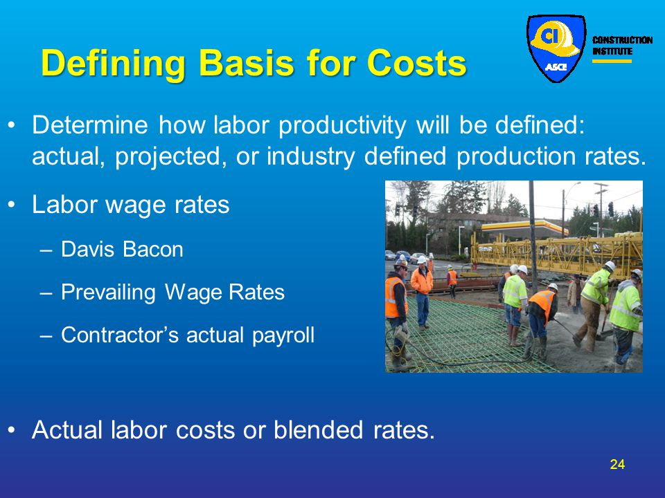 Defining Basis for Costs