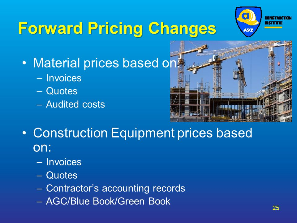 Forward Pricing Changes
