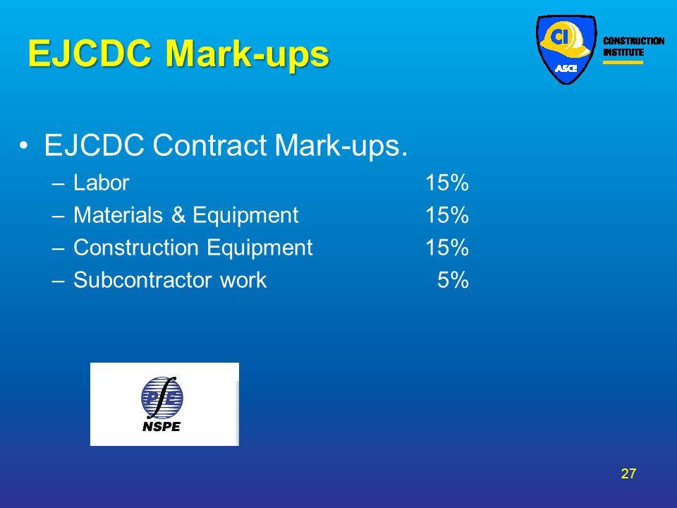 EJCDC Mark-ups EJCDC Contract Mark-ups. Labor 15%