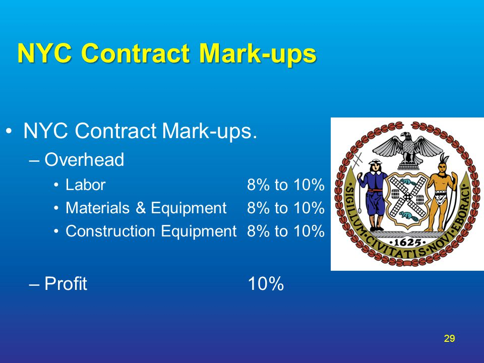 NYC Contract Mark-ups NYC Contract Mark-ups. Overhead Profit 10%