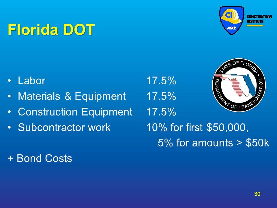 Florida DOT Labor 17.5% Materials & Equipment 17.5%