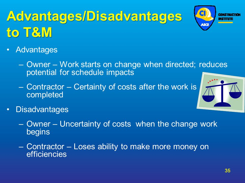 Advantages/Disadvantages to T&M