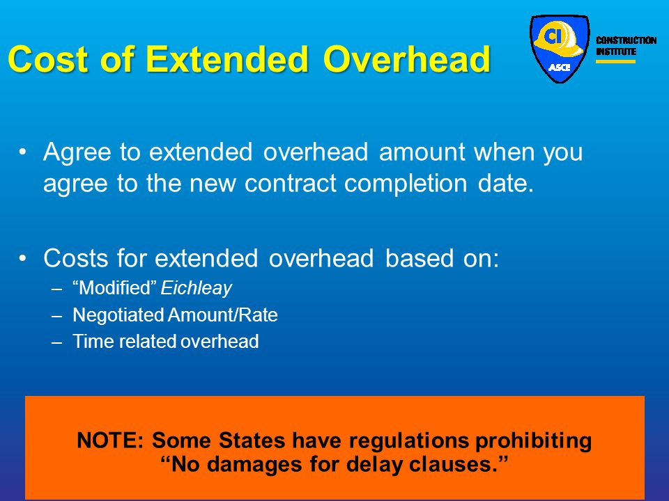 Cost of Extended Overhead