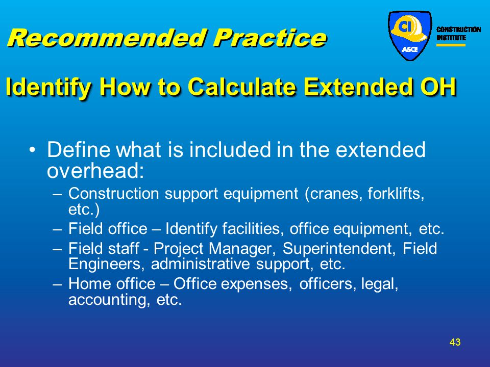 Identify How to Calculate Extended OH