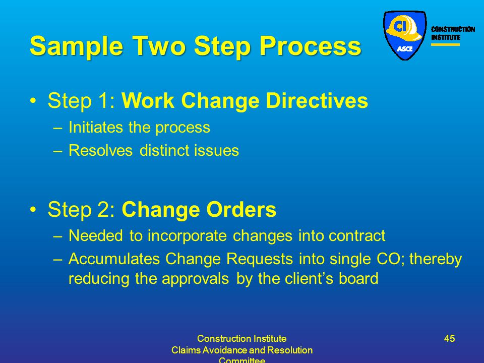 Sample Two Step Process