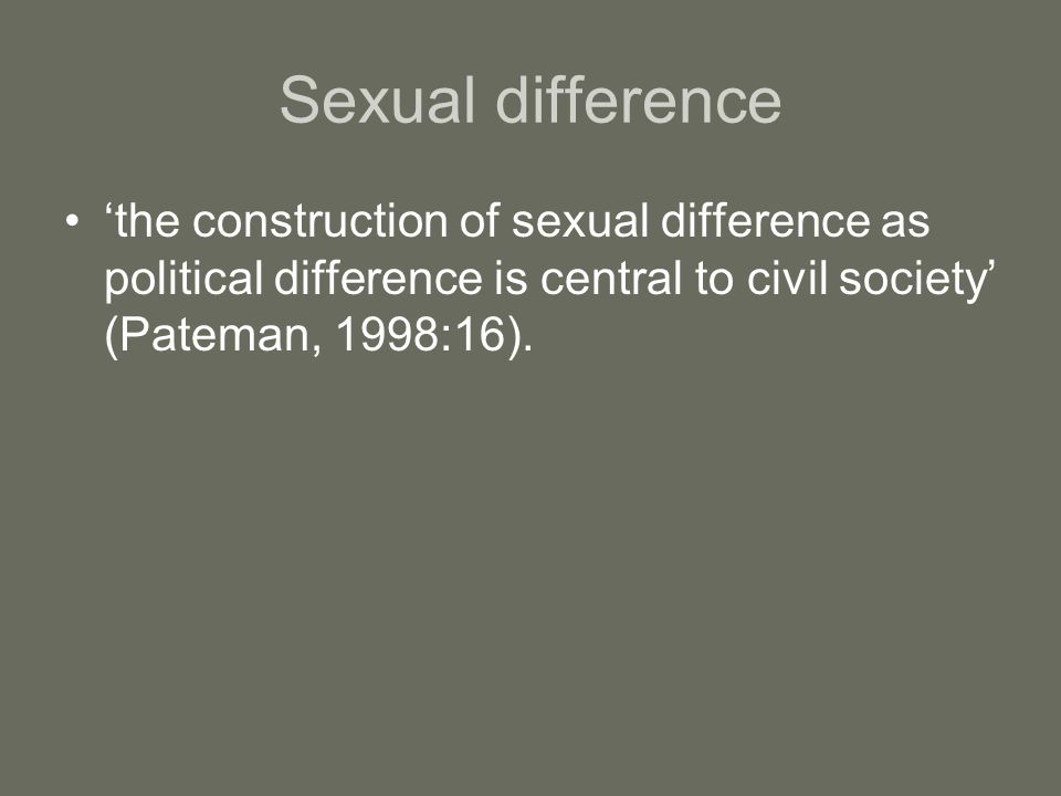 Sexual difference 'the construction of sexual difference as political difference is central to civil society' (Pateman, 1998:16).