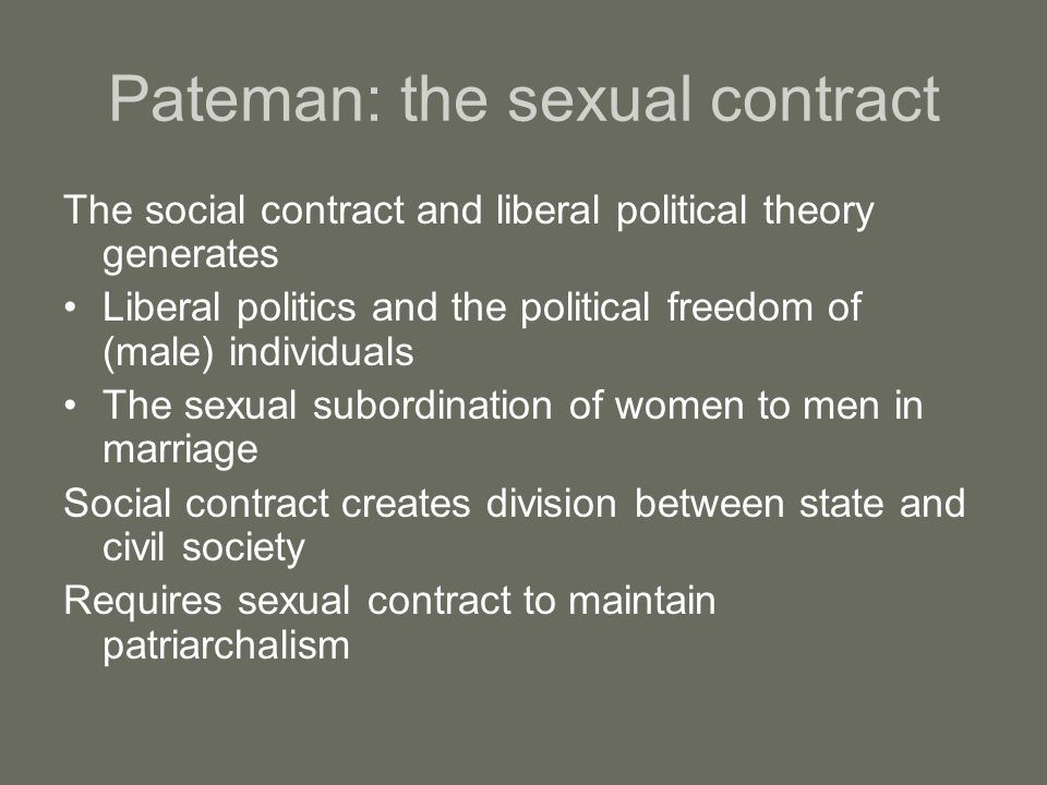 Pateman: the sexual contract