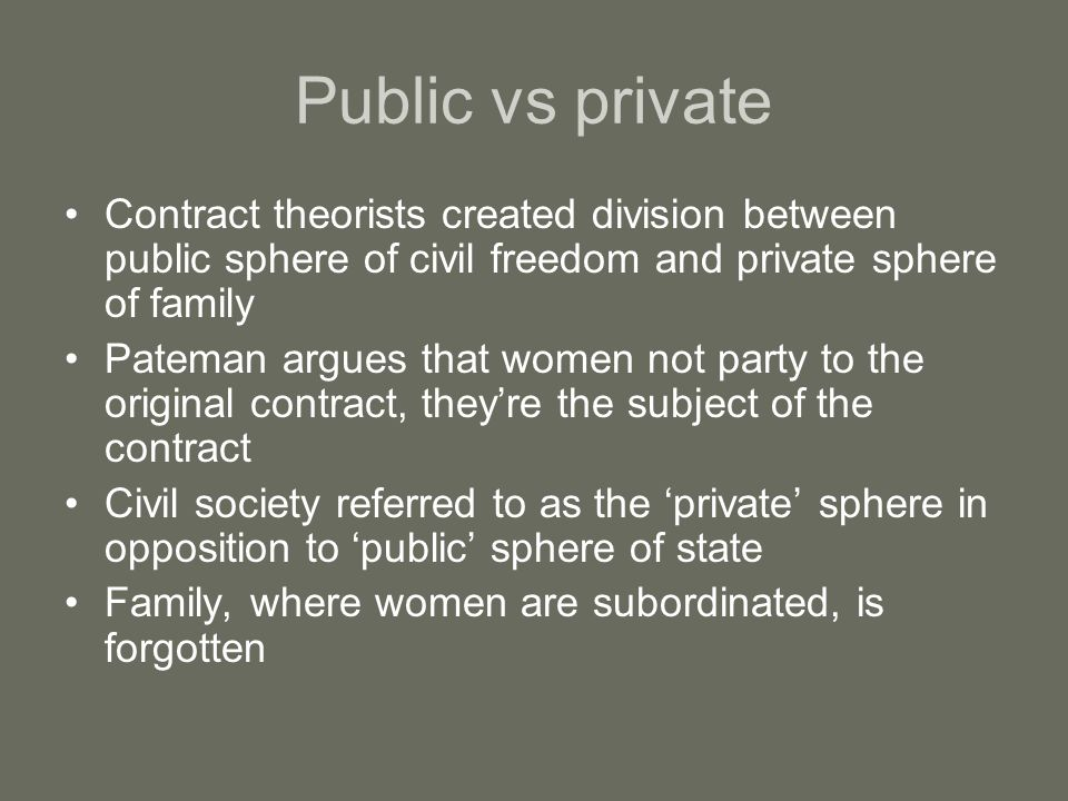 Public vs private Contract theorists created division between public sphere of civil freedom and private sphere of family.