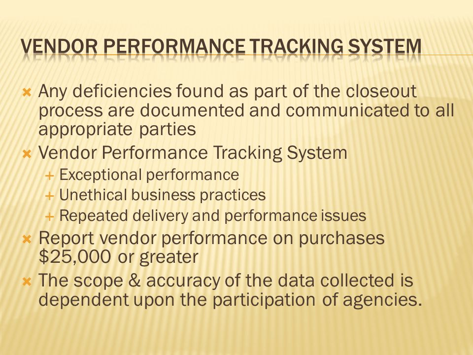 Vendor performance tracking system