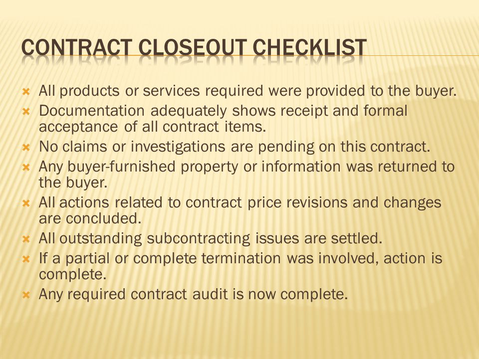Contract closeout checklist
