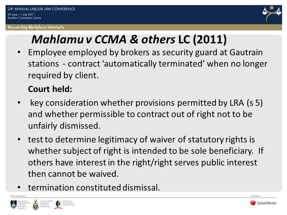 Mahlamu v CCMA & others LC (2011)