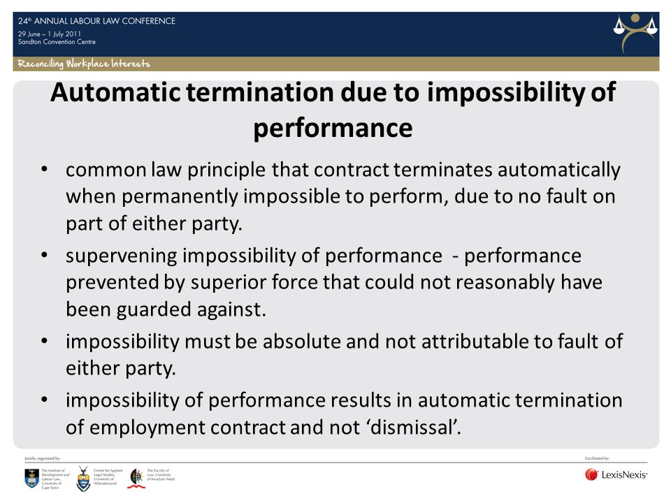 Automatic termination due to impossibility of performance