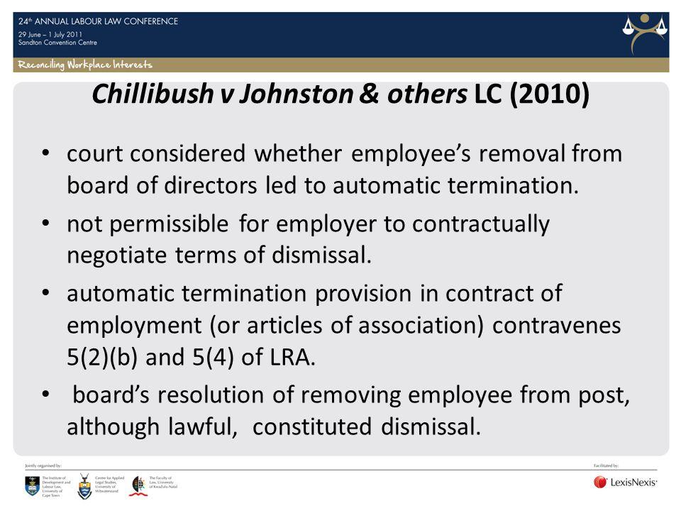Chillibush v Johnston & others LC (2010)