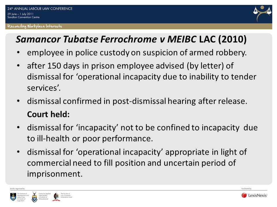 Samancor Tubatse Ferrochrome v MEIBC LAC (2010)
