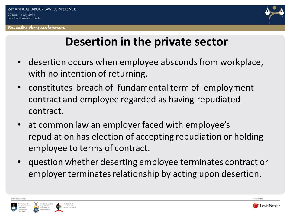 Desertion in the private sector