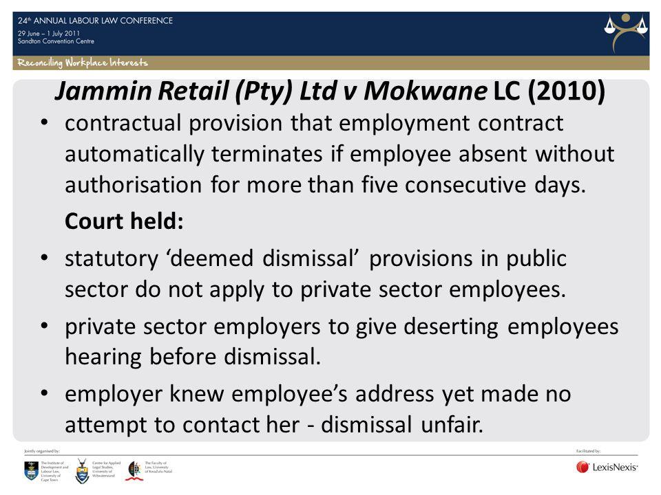 Jammin Retail (Pty) Ltd v Mokwane LC (2010)