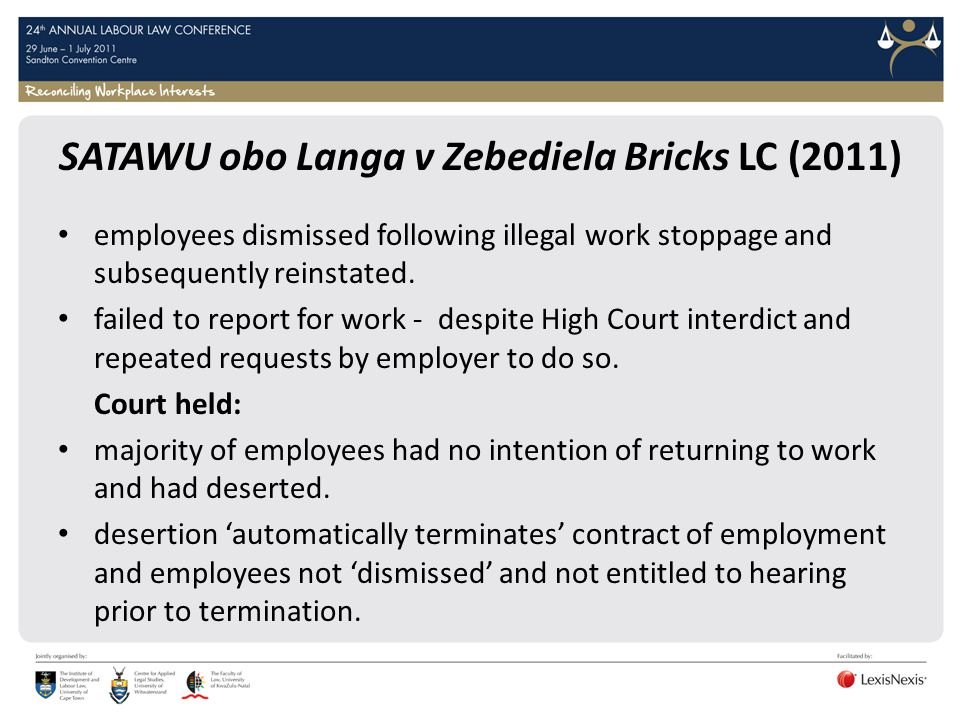 SATAWU obo Langa v Zebediela Bricks LC (2011)