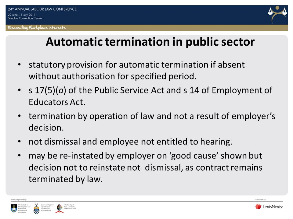 Automatic termination in public sector